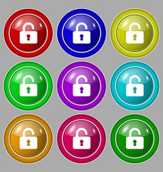 Open Padlock icon sign symbol on nine round vector image