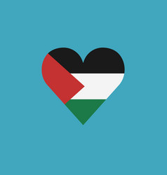 palestine flag icon in a heart shape in flat vector image