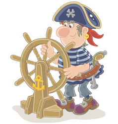 pirate at his old ship steering-wheel vector image