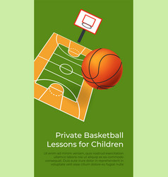 Private basketball lessons courses for children vector