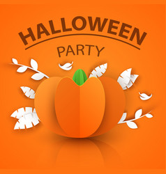pumpkin origami styly icon halloween vector image
