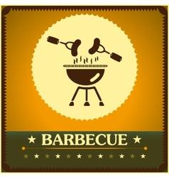 retro barbecue grill poster design menu background vector image