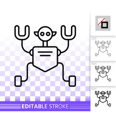 robot humanoid simple black line icon vector image
