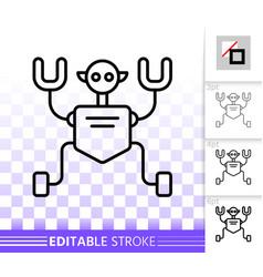 Robot humanoid simple black line icon vector