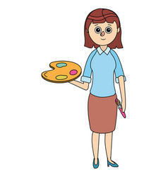 school young teacher woman vector image