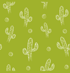 Seamless pattern with cactus background vector