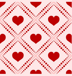 seamless red hearts pattern isolated on white vector image
