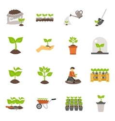 Seedling Flat Icons Set vector