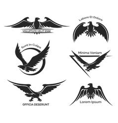 set eagle logo vector image