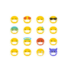 Set emoticons wearing surgical protective masks vector