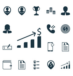 set of 16 management icons includes cellular data vector image