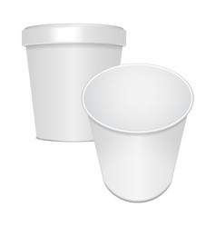 set of blank food cup container for fast food vector image