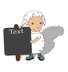 sheep with board for text vector image