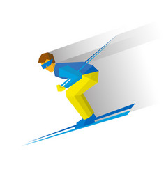 Skiing skier running downhill vector