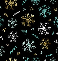 snowflake doodle background for christmas season vector image