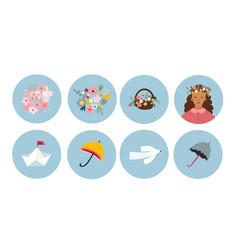 spring summer circle icon sticker vector image
