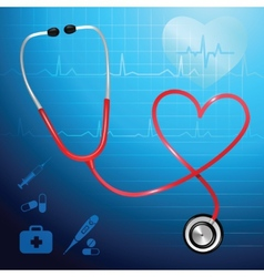 Stethoscope heartbeat background vector image