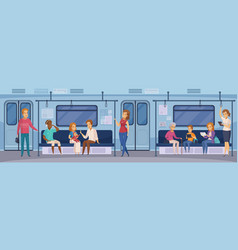 Subway underground train passengers cartoon vector