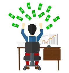 Successful businessman with money vector