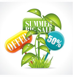summer sale badge kit with grass leaves and vector image