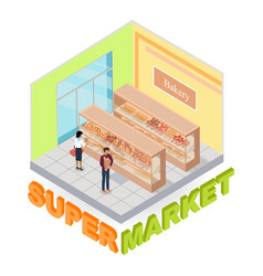 supermarket bakery department isometric vector image