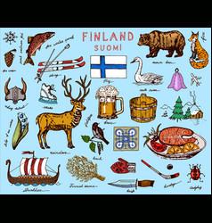 Symbols finland in vintage style doodle sketch vector