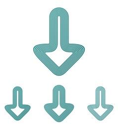 Teal line download logo design set vector