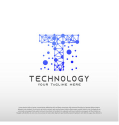 Technology logo with initial t letter network vector