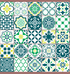 Tile pattern - azulejo lisbon retro tiles vector