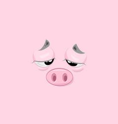 Tired piggy vector