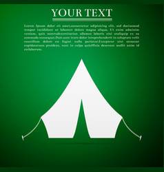 tourist tent flat icon on green background vector image