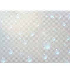 Transparent water drop on gray grid plus EPS10 vector image