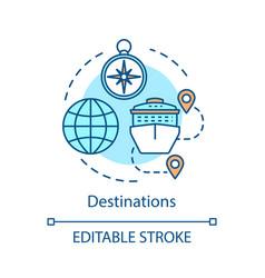Travel destinations concept icon vector