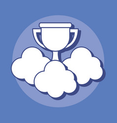 trophy and clouds design vector image