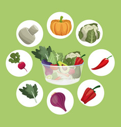 Vegetables fresh ingredients vegetarian food vector