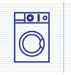 washing machine sign navy line icon on vector image