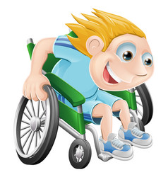 Wheelchair racing cartoon man vector