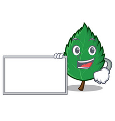 With board mint leaves character cartoon vector