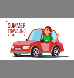 woman travelling by car girl in summer vector image