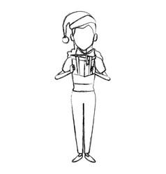 woman with christmas giftbox vector image