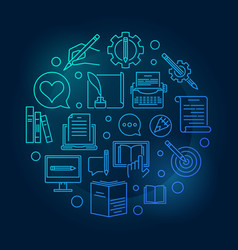 writer blue circular concept outline vector image