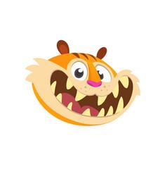 cartoon head icon of a cute tiger vector image