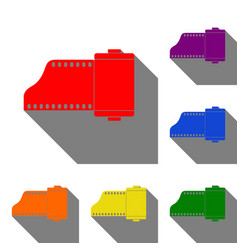 foto camera casset sign set of red orange vector image