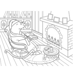grandpa mole in his own house in the library vector image vector image