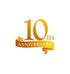 10 year ribbon anniversary vector image
