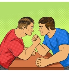 Armwrestling competition pop art style vector image vector image