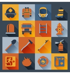 Firefighter icons flat vector image vector image