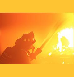 firefighter spray water vector image