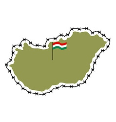 Map of Hungary Country closes border against vector image