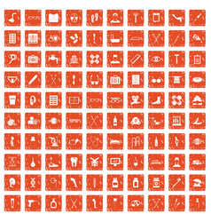100 disabled healthcare icons set grunge orange vector image vector image